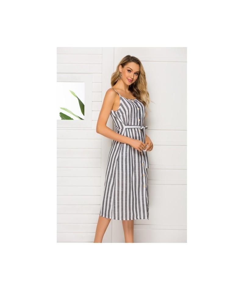 2019 Summer Dress Women Striped Print Dress Sleeveless Backless Sexy Beach Dress Boho Casual Style With Belt Vestido Bohemia...