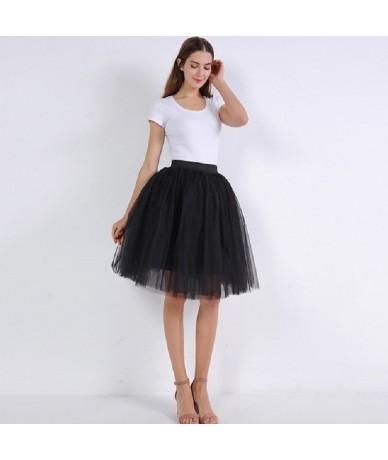 Mesh Pleated 7 Layers Dance Tulle Skirt Fashion Tutu Skirts Womens Petticoat Elastic Belt 2019 Lolita faldas saia jupe - bla...