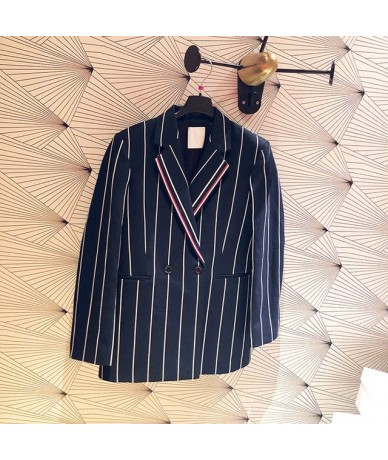 Women Suit 2019 Spring and Summer New Color Contrast Striped Commuter Lady Suit - Coat - 4B3090845151