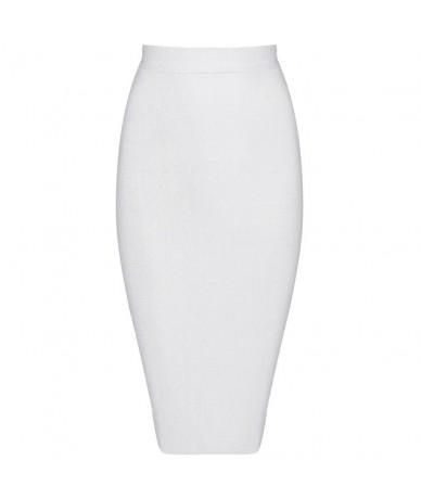 2019 New Women Bandage Skirt Solid Wear To Work Skirt For Lady Fashion Knee Length Bodycon Skirt - white - 4E3937948225-1