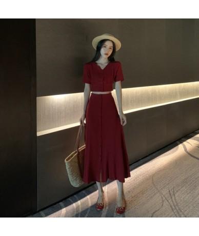 Two Piece Set Women Clothes 2019 Spring Summer Women Shirt Tops + Skirt Korean Vintage 2 Piece Outfits Ensemble Femme ZT2613...