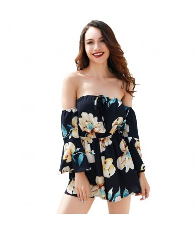 Sexy Tracksuit for Women Jumpsuit Floral Print Off Shoulder Bell Sleeves Backless Casual Playsuit Summer Rompers female Over...