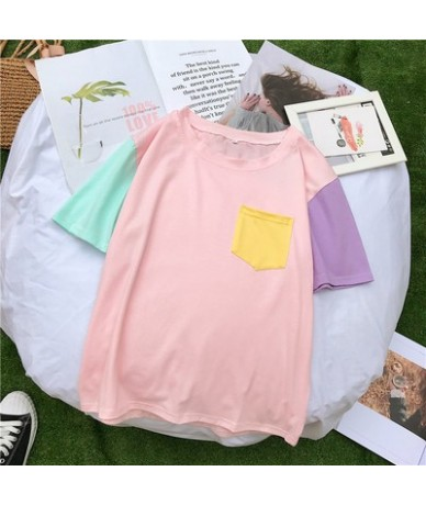 Women Tops Summer Harajuku Korean Style Patchwork Contrast Color Pastel T shirts Bangtan Boys Kpop Tee Shirt Friends Streetw...