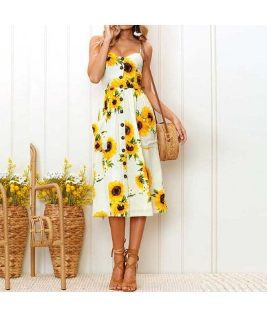 2019 Summer Sunflower Dress Women Party Dress Plus Size Flower Beach Dress Female Floral Backless Midi Striped Dress Ladies ...