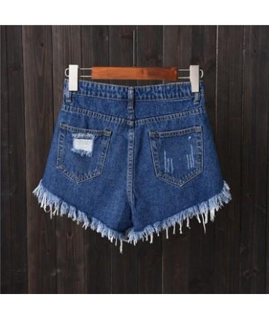 Womens Sexy High Waist Tassel Ripped Jeans Summer Large Size Denim Shorts - Dark blue shorts - 4N3901534088-2