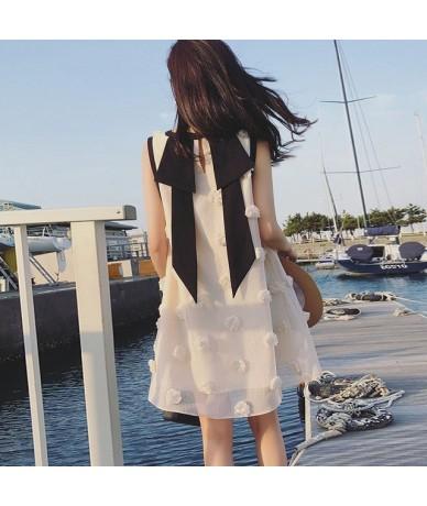 Women 2019 Summer Popular Fairy French Dress Female Loose O-neck Sweet Skinny Doll Chiffon Vest Dress - White - 4X3002935190-2