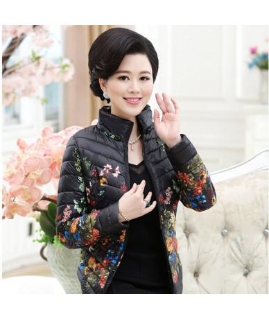 2018 New Winter Jacket Slim Down Cotton Parkas Womens Flower Coats Plus Size Zippers Outerwear Woman Printing Coat L0785 - B...