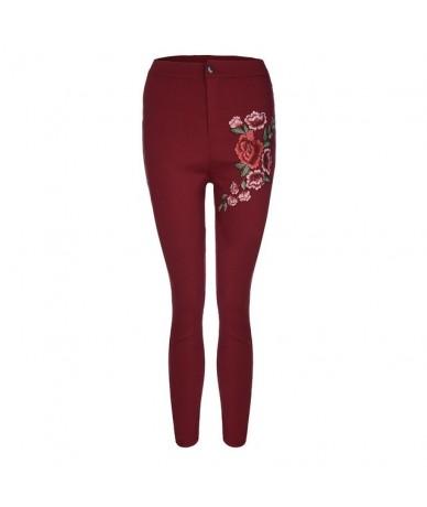 Fashion Sexy Women Skinny Floral Applique Jeans High Waist Stretch Pencil Pants 4O10 F - Wine - 4W3055871089-4