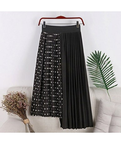 High Waist Patchwork Pleated skirt Women Irregular Polka Dot Women's Skirt Midi Elegant Womens Skirts Female - Black - 45307...