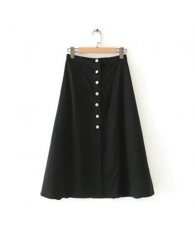 women vintage brown skirt buttons high waist ladies fashion elegant a line skirts faldas mujer 4T06 - Black - 4F4160751055-1