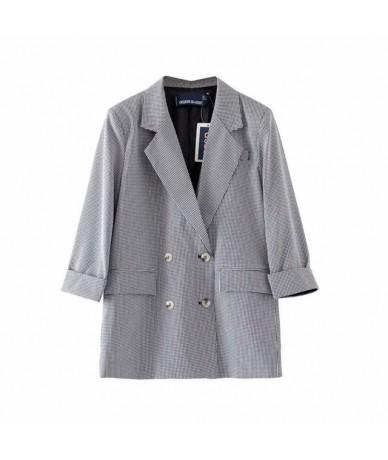 Black White Plaid Women Blazer Vintage Woman Korean Suits Double Breasted ladies office clothes XZ10 - Black - 5E111126060639