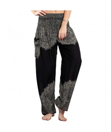 Summer Beach Boho High Waist Harem Pants Women Bloomers Plus Size Print Trousers Women Fashion Workout Pant 3 Colors - Print...