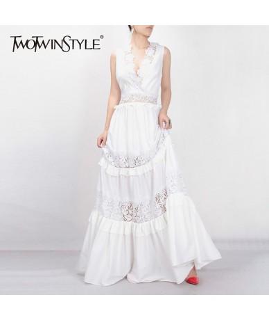 Elegant Embroidery Long Dress For Women V Neck Sleeveless High Waist Ruffles Hollow Out Maxi Dresses Female Summer - white -...