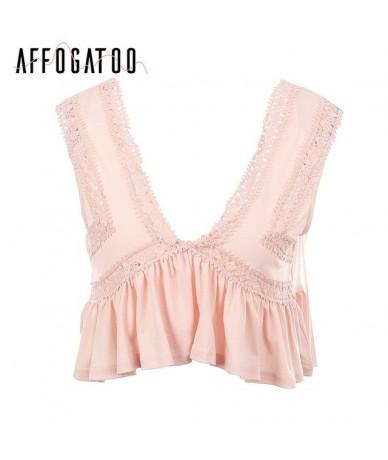 Sexy deep v neck ruffle camisole tank top Women backless short white lace shirt tee Summer streetwear casual crop top - Lotu...