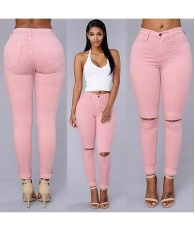 Europe America Elasticity Slim Skinny Jeans Women Fashion Hollow Out Knee Hole Denim Pantalon Femme Push Up Vintage Pencil P...