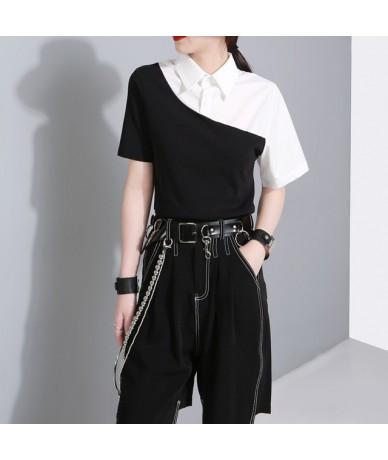 2019 New Spring Summer Lapel Short Sleeve Black White Hit Color Irregular Stich Shirt Women Blouse Fashion Tide JU1720 - Bla...