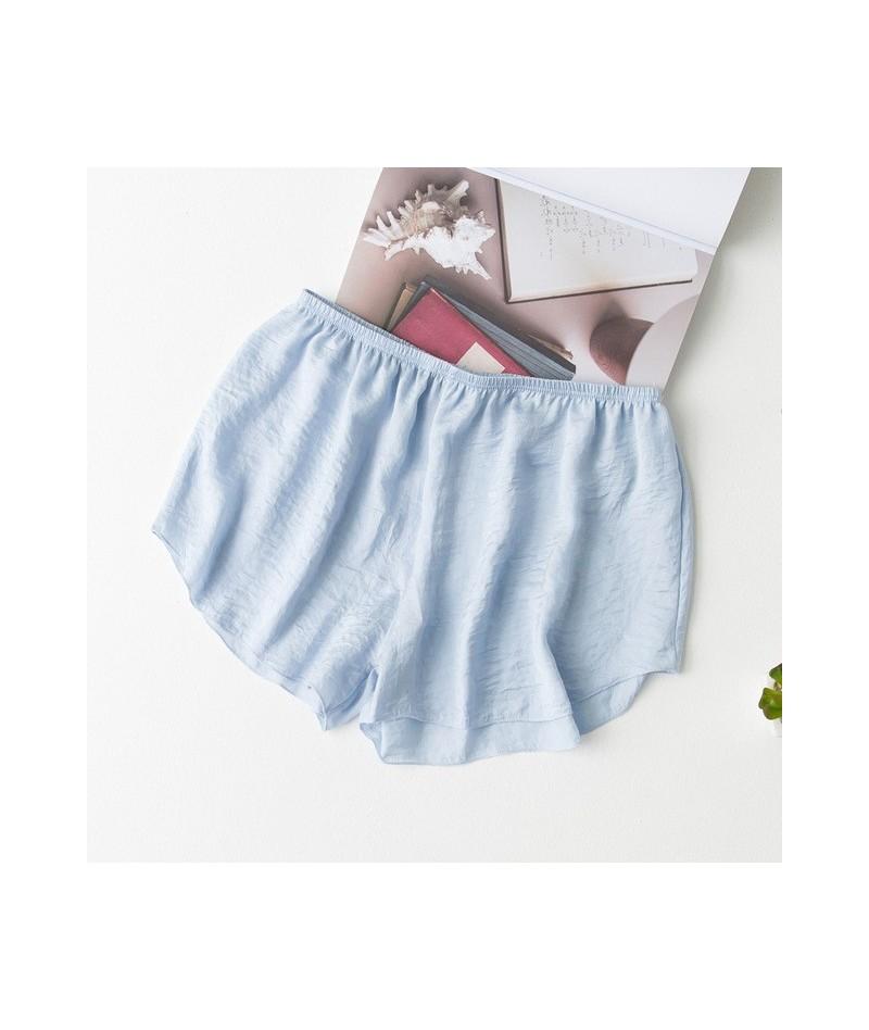 Women Girl Elastic Faux Silk Casual Shorts High Waist Beach Seamless Soft Shorts for Femme Booty Shorts Summer Short - Blue ...