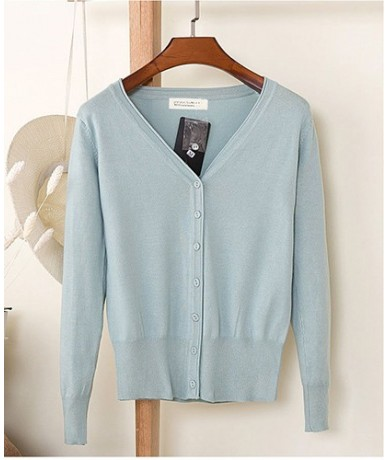 Plus size Cardigans Women 2019 Fashion Candy Color V-neck Long Sleeve Single Breasted Thin Knitted Womens Sweaters Oversized...