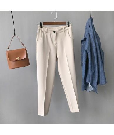 Autumn Office Lady Suit Pants Solid High Waist Zipper Fly Full Length Harem Pants Feminine Gray White Black Casual Trouse Bo...