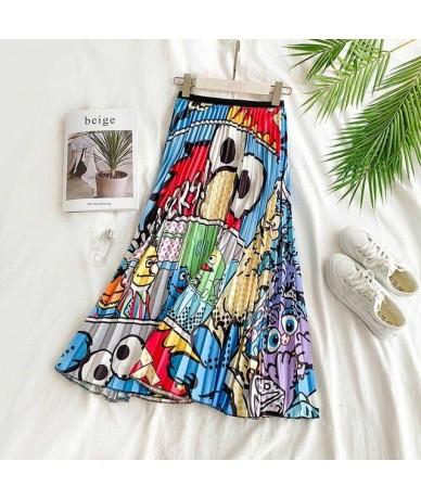 2019 Summer Women Midi Skirts Bottom Korean Fashion Ladies Cartoon Printed High Waist Pleated Skirt For Women Female - Carto...