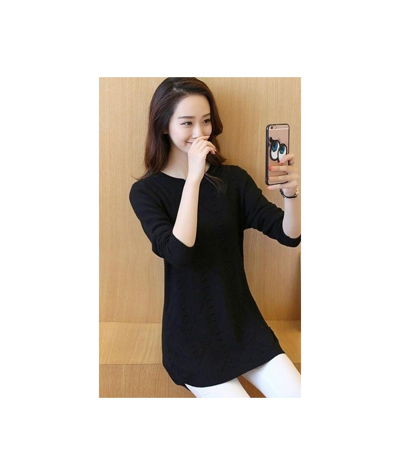 Women Sweater 2017 Autumn Winter Solid Knitted Sweaters And Pullovers Women Jumper Long Sleeve Pullover Female Tricot Femme ...