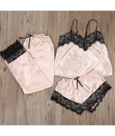 Summer Women Clothes Set Sexy Pajamas Silk Sleepwear Sling Clothing Set New Sleveless Crop Top Shorts Pants Fashion Ladies S...