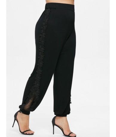 Big Women Plus Size Pant Side Lace Mesh Panel Pants Elastic Waist Solid Casual Pants Female Loose Trousers 5XL Leggings - Bl...
