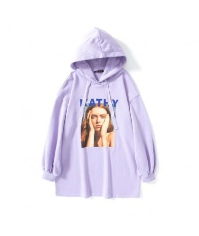 Women Long Retro Portrait Hooded Sweatshirt Women's Oversized Dropped Shoulder Sweatshirt with Puff Sleeves Streetwear - pur...
