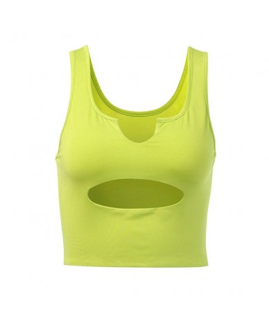 Casual Workout V Neck Tank Tops Women Sexy Summer Sleeveless Simple Crop Top Hole Elastic Tees Vest Festival Outfits - green...