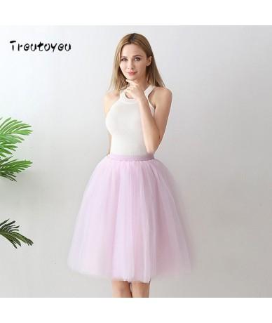 6 Layer Midi Tulle Skirt High Waist Champagne Tutu Skirts Womens Lolita Petticoat Elastic Belt Summer 2018 faldas saia jupe ...