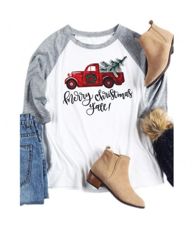 Merry Christmas Y'all T shirt Happy New Year Tshirt For Women Top Autumn Winter Long Sleeve Female T-shirt Tee Casual Drop S...