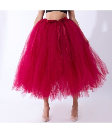 Handmade 80CM Midi Tulle Tutu Skirts for Women High Quality Ball Gown Skirt Party Props Petticoat 2019 Faldas Saia Jupe - re...