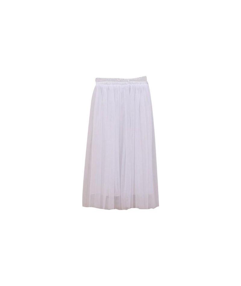 55CM Women Girl High Waist Three Layer Sheer Mesh Pleated Tulle Knee Length Tutu Skirt Sweet Candy Color Drape Swing Loose -...