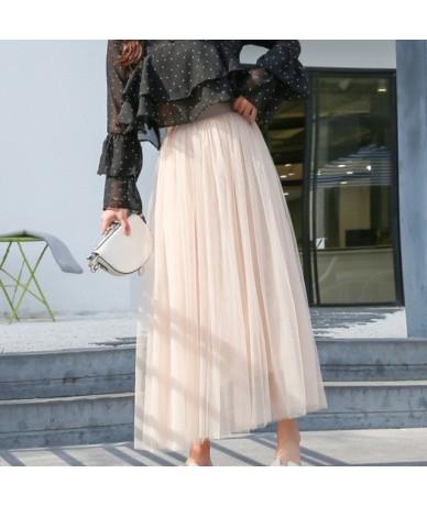2019 Autumn Winter Vintage Skirts Womens Elastic High Waist Tulle Mesh Skirt Long Pleated Tutu Skirt Female Jupe Longue - Be...