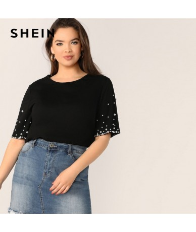 Plus Size Black Pearl Detail Beaded Round Neck Plain Top T Shirt Women 2019 Stretchy Short Sleeve Spring Top Tees - Black - ...