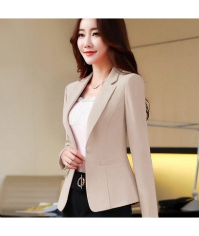 Fashion Lady Blazer Jacket Casual tops Candy color Slim Short Outerwear coat Plus size Black White Business Office Ladies Su...