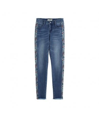 Autumn High Waist Literary Retro Women Cowboy Pencil Pants - Dark Blue - 4H3066859146