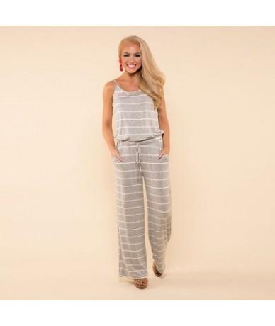 2019 women Super Comfy Floral Jumpsuit Fashion Trend Sling Print Loose Piece Trousers - 0916-GY - 4P3082043023-14