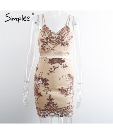 Evening party elegant sequin dress Women sexy v neck bodycon dress 2016 short beach summer dress mesh vestidos - Gold - 4N37...