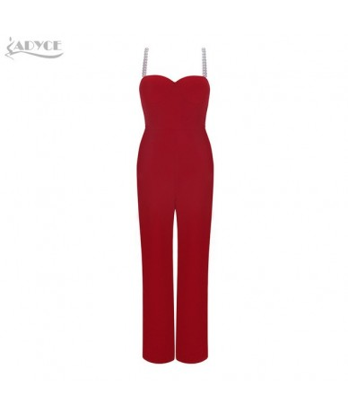 2019 New Summer Women Jumpsuits Rompers Elegant Red Sexy Strapless Pearls Beading Jumpsuit Celebrity Party Club Bodysuits - ...