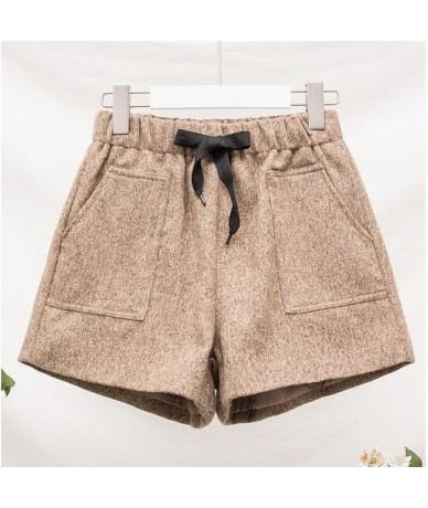 4XL 5XL Plus Size Autumn Winter Wool Boots Shorts Womens Fashion 2019 High Waist Casual Woolen Wide Leg Short Femme - light ...