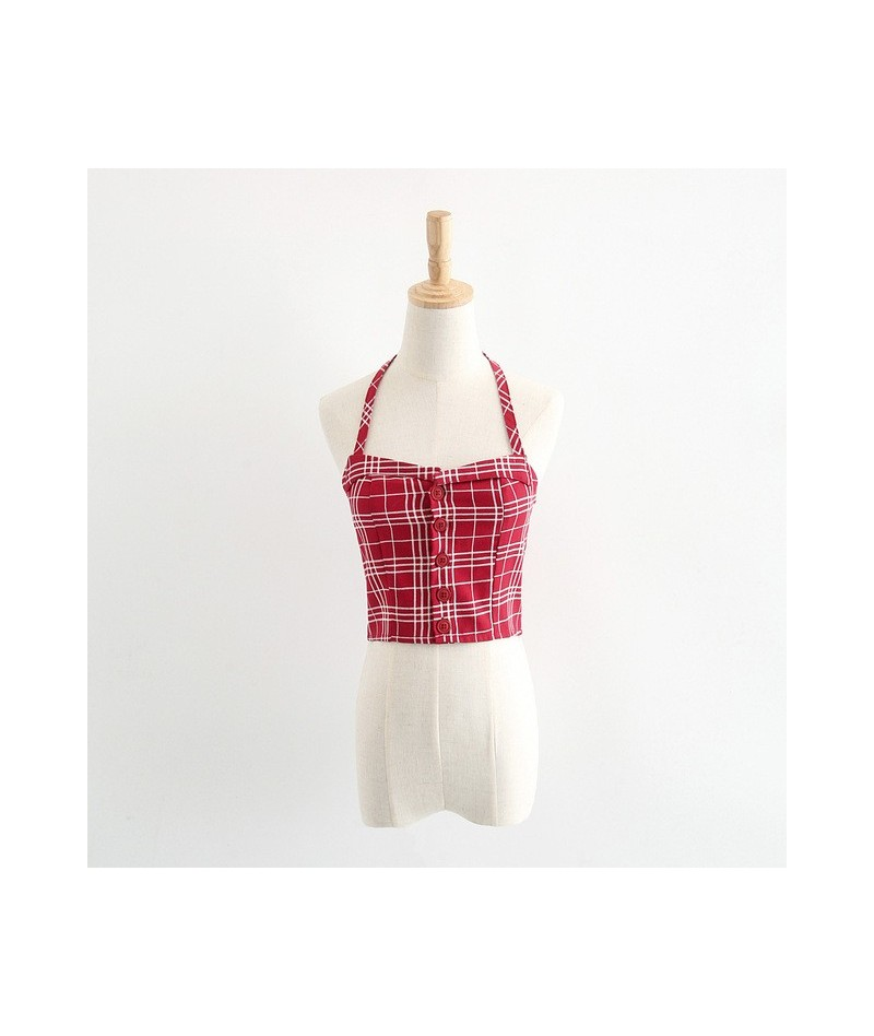 Women Foldover Sweetheart Halter Neck Top Button Front Halter Tank - red grid - 4A3990745430-1