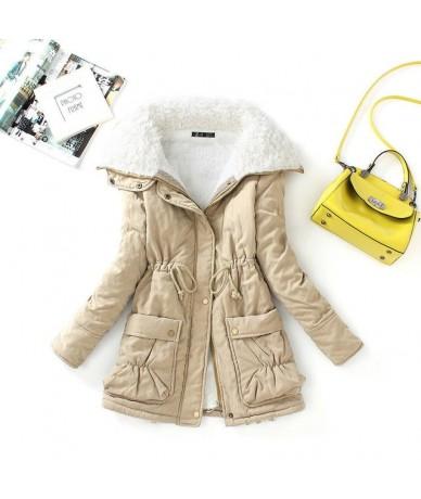 Winter Cotton Coat Women Slim Snow Outwear Medium Long Wadded Jacket Thick Cotton Padded Casual Sash Tie Up Parkas - khaki -...