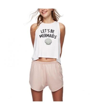 Summer Womens Sleeveless Letters Seashell Printed Vest Camisole Asymmetric Split Hem Loose Casual Shirt tops 2019 - 4S308795...