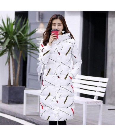 Elegant luxury brand women's cotton coat long section thick large size slim down cotton pad printing cold jacket women - Whi...