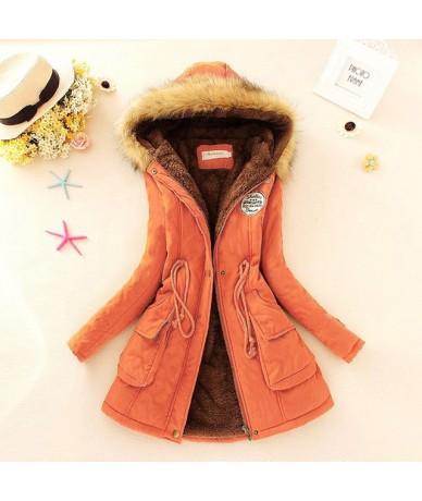 Winter Warm Coat Women Long Parkas 2019 Faux Fur Hooded Womens Overcoat Casual Cotton Padded Jacket Plus Size - Orange - 4N3...