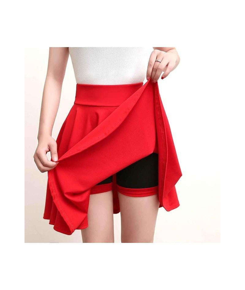 Plus Size 4XL Shorts Skirts Womens 2018 Summer A line Sun School High Waist Pleated Skirt Female Korean Elegant Skirt - Red ...