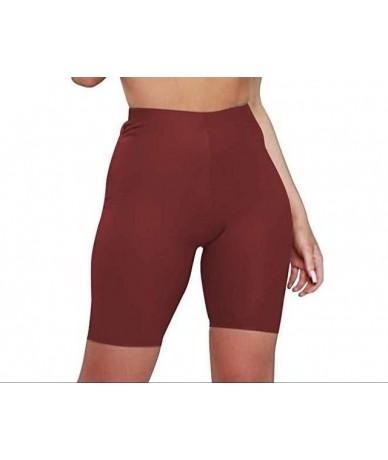 2019 Women Sport Shorts Slim Biker Shorts Bodycon Summer Short for Women More Colors Quick Drying Cheap Hot Sale - Wine - 4E...