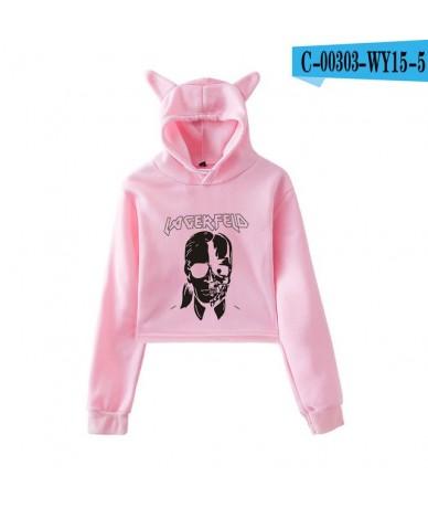 LUCKYFRIDAY Kawaii Sweatshirts Karl Lagerfeld Cat Crop Top Women Hoodies Sexy Plus Size Print Tops Casual Harajuku Streetwea...