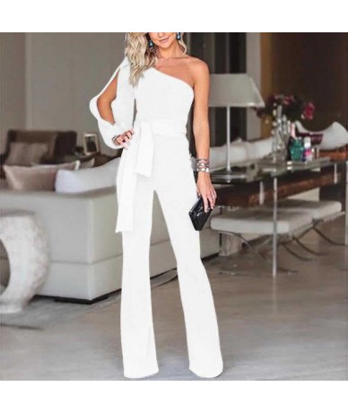 Women arrival Clubwear One Shoulder High Waist Lace Up Bodycon Party Jumpsuits Rompers - As photo shows - 444112715563-7
